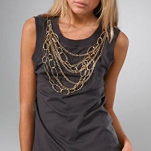 HAUTE HIPPIE PITY THE FOOL NECKLACE TANK TOP XS
